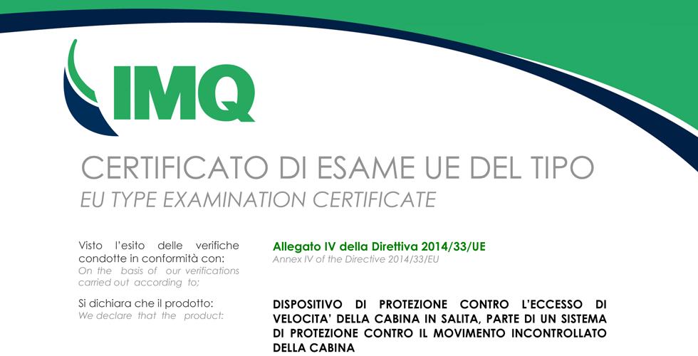 CERTIFICATO Norma Europea EN81-20 / EN81-50 per freno LIFT DB