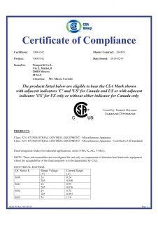 CSA-UL freni certificato Temporiti srl